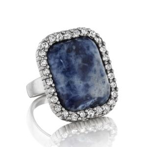 Blue Cocktail Ring with Pave Border Size 8